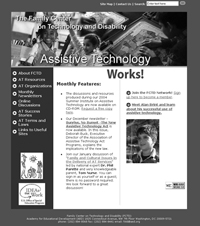 Snapshot of the FCTD website Assisstive Technology Works! Page