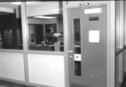 photograph of an office with a closed door
