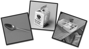 Image of three cards.  First one on the left is a picture of a spoon.  Middle card contains picture of a milk carton.  Third card on the right contains picture of an open lunch box.