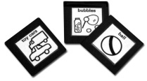picture is of three cards.  The first card says 'toy cars' and has drawings of a truck and a car.  The second card says 'bubbles' and has a drawing of a bottle of bubbles, a wand, and bubbles.  The third card says 'ball' and has a drawing of a ball.