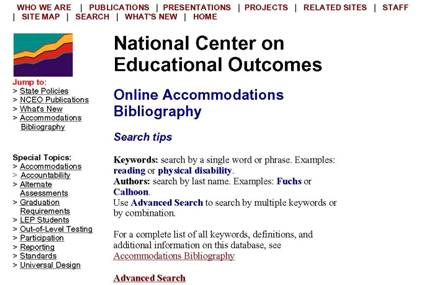 Image of the Online Accommodations Bibliography Web Site
